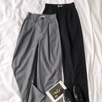 Pantaloni da donna a vita alta Grigio Grigio Grigio Black Gamba Super Soft Temterment Temperamento Pantaloni lunghi