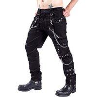 Dış Ticaret Kişilik Rahat Pantolon Erkekler Gotik Pantolon Punk Kaya Esaret Pantolon F1225