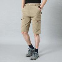 Helisopus Yaz Ince Erkekler Şort Hızlı Kuruyan Kırpılmış Pantolon Gevşek Elastik Çok Cep Açık Günlük Taktik Şortlar1