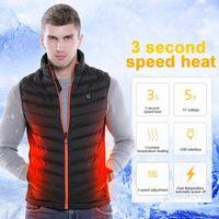 Men Women USB Charging Graphene Heated Vest Jacket Coat Clothing Skiing Winter Warm Heated Pad Winter Body Warmer