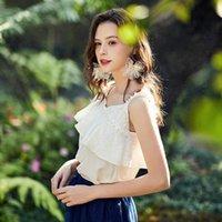 Artka 2020 primavera verano nueva mujer blusa elegante volante encaje sesgo cuello camisa de tanque de moda diseño de moda camisas top camisas ba25004x y200622
