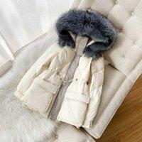 Donne Down Parkas Zvaqs Giacca femminile 2021 Inverno Donne 90% Bianco Anatra Giacche reali Collare in pelliccia con cappuccio Moman Cappotti Ropa Mujer TN691