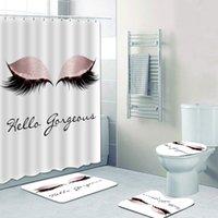 Rideau de douche de douche à la branchée Rose Rose Rideau de salle de bain avec tapis de bain tapis pour toilette Glitter Hello décor magnifique 201127