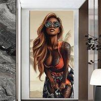 抽象的なクールセクシーな女の子タトゥーキャンバス絵画ウェアメガネセックス女性ポスタープリント壁アート写真のためのリビングルームの装飾1