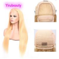 Brésilienne Vierge Cheveux 4x4 Perruque frontale Silky Body Silky Wave 4 par 4 perruques 613 Couleur blonde 12-32inch 100% cheveux humains Yirubéatuy