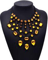 Cohersons BK BK Acrylic Glass Perles Collier Lien Déclaration de cristal géométrique Collier Collier Chaîne de clavicule féminine Bijoux exagéré