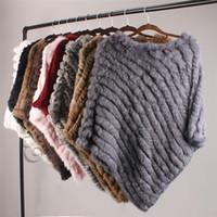 Ethel Anderson Real Fur вязаный мех пончо жилет жилет мода обертывание пальто VTG шаль леди натуральная свадьба оптом