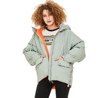 Зима Женщина пальто белого утка вниз куртка с капюшоном Outwear Теплой Одежды женской Женская легкая Parka Теплой Коротких Jactets 201020