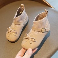 New style children shoes autumn winter boys girls sneakers fashion kids girl bow velvet ankle boots warm knitted socks boot