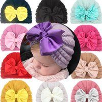 Kids Winter Warm Bow Knitted Hat Knitted Children Chunky Stretchable Kids Knitted Beanies Baby Hat Beanie Skully Hats 12color 10pcs
