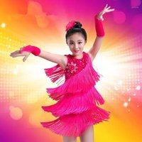 Çocuk Payetli Latin Balo Salonu Dans Elbise Çocuk Kız Giyim Saçak Etekler Latin Sahne Dans Kostüm Giyim Çocuk1