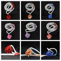 """HOT!! white shell 6mm round beads with 24x37mm colorful flower pendant women jewelry handmade nacklace Free shipping 28"""" B968"""