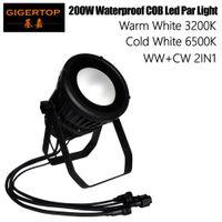 Gigertop TP-P108 impermeable 200W COB LED PAR fría luz blanca 6500k blanco cálido 3200K LED de color al aire libre Par puede etapa luz carcasa de dos