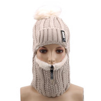Women Wool Knitted Hat Ski Hat Sets For Female Windproof Win...