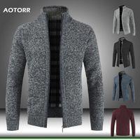 2020 Sonbahar Kış Yeni Erkek Ceket Standı Yaka Fermuar Ceketler Erkekler Slim Fit Coat Erkekler Katı Kalın Sıcak Ceket Pamuk Man Giyim