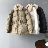 Kadın Aşağı Parkas 2021 Kadın Kış Coat Uzun Kollu Kürklü Yaka Kemer Tasarımı Ile Sıcak Kalın Pamuk Ceket Casaco Feminino1