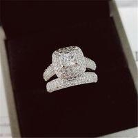 Vecalon 188pcs TOPAZ Diamant Simulé Diamant CZ 14kt Bague de mariage en or blanc 3 en 1 pour femmes SZ 5-11