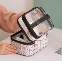 HBP Women Handbag Purses Makeup Bag Fashion Double Level Cosmetic Bag Large Capacity Cases Handbags Women Bags