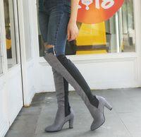 HBP New Style Women Boots Over-the-Knee Puntas puntiagudas High Heels Lady Shoes Calzo Elástico Even Elass Fácil de usar Botas Tamaño 34-43