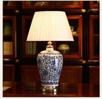 Chinesisches blaues und weißes Porzellan-Schreibtischlampen Modern Dimmable China Blume Leselampe Home Innen Schlafzimmer Wohnzimmer Bett Side Tabelle Licht