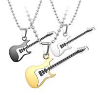 Patrón de guitarra colgantes collar de joyería chapado en oro y plata hombres moda moda color puro cadena amantes collares 5ts j2b