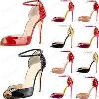 Senhoras Mulheres Lacing Moda Rebite Salto Alto Saltos Vestido Vermelho Bottom Peep Toe Sapatos Super High Heel Sandálias Spiked Diamond Bomba 10cm Tamanho 34 -42