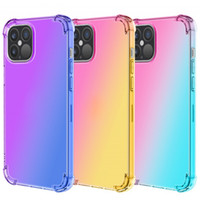 Gradient Dual Color Transparent TPU + PC Stoß- Telefon-Kasten für iPhone 12 11 Pro Max XR XS MAX 8 Plus