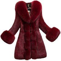 XXXXL женщин Шубы Мода Slimfit Плюс Размер Зимняя теплая куртка из искусственного меха для женщин 2021