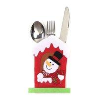 Santa Hat Олени Рождество Новый год Карманный нож вилки Столовые приборы держатель сумка Главная партия обеденного стола украшения Посуда GGE1786