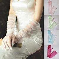Cinco Dedos Luvas Mulheres Sheer Tulle Sunscreen Cotovelo Completo Longo Mitenes Festa Pogador Ultra Fino Glovas1