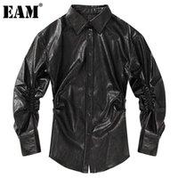 Kadın Bluz Gömlek [EAM] Kadın PU Deri Buruşuk Siyah Bluz Yaka Uzun Kollu Gevşek Fit Gömlek Moda Gelgit İlkbahar Sonbahar 2021 1dd3