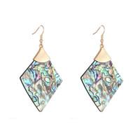 Natürliche abalone weiße shell quatrefoil cross floral abbildung ohrringe marke design runde raute geometrisch mit gold metall baumeln ohrringe