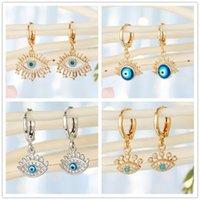 Hoop & Huggie 1Pair Women Fashion Golden Face Eye Rhinestone Earrings Cool Punk Hollow Evil Dangle Earring Resin Pendant Jewelry1