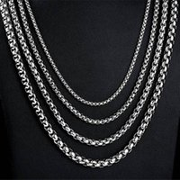 Top 316L Stainless Steel Square Pearl Chain Necklace Fashion 3MM 4MM 5MM 6MM Unisex Chains Necklaces Jewelry dropper ship