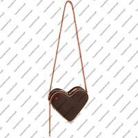 M57456 COEUR Mini Desinger Kırmızı Kalp Çanta Buzağı Deri Kadın Tuval Kabartmalı Crossbody Akşam Omuz Çantası Çanta