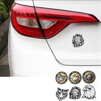 Décoration de voiture Autocollants animaux Logo Métal 3D Lion / Eagle / Tiger Aluminium Emblem Badge Decal Auto Styling Accessoires voiture
