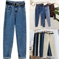 KNRA New Lady Jeans Pantalón pantalones de verano pantalones casuales pantalones casuales para damas longitud azul cintura media cordón dril de mezclilla luz de brida