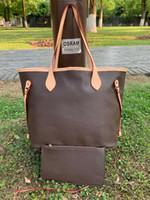 Yeni Tasarımcılar Luxurys Çiçekler Alışveriş Çantası Kadın Deri Çanta + Küçük Cüzdan 2 adet Set Omuz Çantası Messenger Çanta Tote Sırt Çantası M40157