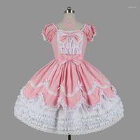 Kundenspezifische 2020 Süße Frauenschicht Lolita Kleider Halloween Kurzarm Baumwolle Bogen Cosplay Kostüm Für Mädchen 3 Farben1