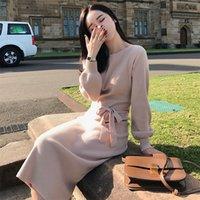 Semfri Elbise Kadınlar Uzun Kazak Elbise Kış Fener Kol Bodycon Vestidos Yüksek Kaliteli O-Boyun Bel Kemer Örme Elbiseler LJ201202