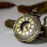 Neue Quarz Große Goldgesicht Römische Taschenuhr Halskette Vintage Schmuck Pullover Kette Mode Mode Uhr Taschenuhr