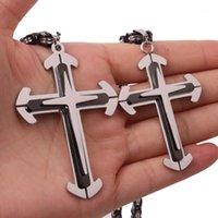 "Christian Jesus Cross Colgante Collares Thick Link 5mm Bizantino Cadena de acero inoxidable Hombres Collar Joyería Regalo 18-36 ""1"