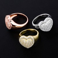 18K White Gold Bling Heart Love Cubic Zirconia Womens Rings ...