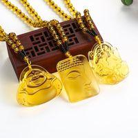 펜던트 목걸이 목걸이 부처님 펜던트 고급 보석 여성 남성 노란색 크리스탈 고품질 천연 돌 carved1