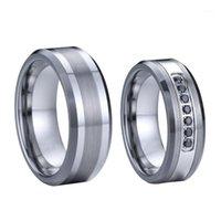 Nero CZ Pietra 8mm Real Tungsteno Anello in carburo di tungsteno Gioielli in argento Colore Colore Coppia Anelli di nozze per le donne1