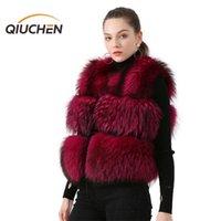 Qiuchen pj8051 venda quente modelo moda colete curto mulheres colete no inverno 100% natural guaxinim peles real pele 201111