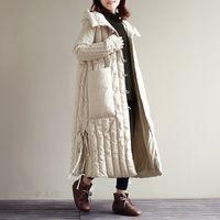 Invierno mullido relleno con capucha blanca del ganso chaqueta femenina cubierta hueco de corte más largo abajo cubre caliente