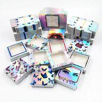 50PCS Ресницы коробки Картонная коробка упаковки бумаги для 25mm Long ресницу Bulk Дешевые Довольно бабочки голографической Lashes хранения
