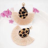 Baumelige Kronleuchter Quaste Leder Ohrringe Sexy doppelseitige Leoparden-Druck Lange Fransen-Anweisung Drop für Frauen Modeschmuck 20211