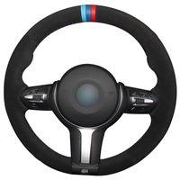 BMW F33 428i 2015 F30 320d 328i 330i 2016 M3 M4 2014-2016 F87 için DIY El dikişli% 100 Gerçek Deri Araç Direksiyon Kapak